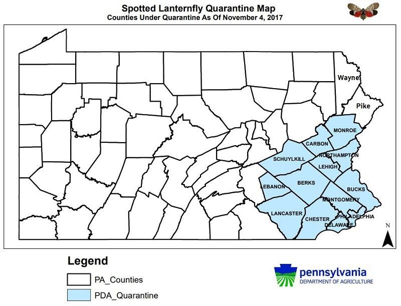 SLF Quarantine PA Counties